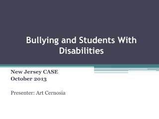 Bullying  and Students With Disabilities