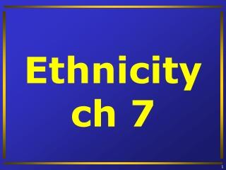 Ethnicity ch  7