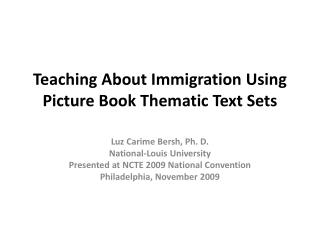 Teaching  About  Immigration  Using Picture Book Thematic Text Sets