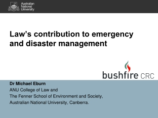 Law's contribution to e mergency and d isaster management