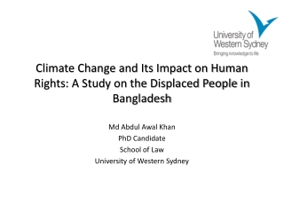 Climate Change and Its Impact on Human Rights: A Study on the Displaced People in Bangladesh
