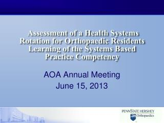 Assessment of a Health Systems Rotation for Orthopaedic Residents Learning of the Systems Based Practice Competency