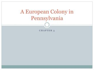A European Colony in Pennsylvania