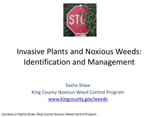 Invasive Plants and Noxious Weeds: Identification and Management