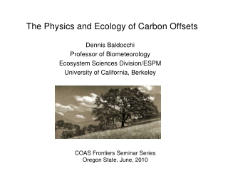 The  Physics  and Ecology of Carbon Offsets