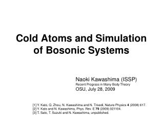 Cold Atoms and Simulation of Bosonic Systems