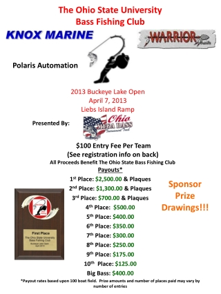 Payouts* 1 st  Place:  $2,500.00  & Plaques 2 nd  Place:  $1,300.00  & Plaques 3 rd  Place:  $700.00  & Plaques 4 th  P