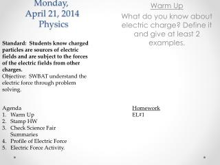 Monday,   April 21, 2014   Physics