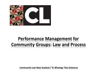 Performance  Management for Community Groups: Law and Process