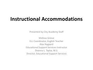Instructional Accommodations