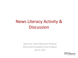 News Literacy Activity & Discussion