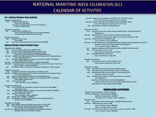 NATIONAL MARITIME WEEK CELEBRATION 2013 CALENDAR OF ACTIVITIES