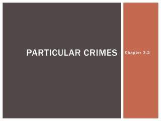 Particular Crimes