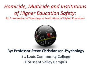 Homicide, Multicide and Institutions of Higher Education Safety:  An Examination of Shootings at Institutions of Higher
