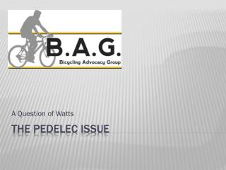 The pedelec issue