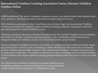 international triathlon coaching association trains, educate