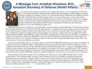 A Message from Jonathan Woodson, M.D.,  Assistant Secretary of Defense (Health Affairs)