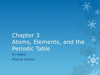 Chapter 3  Atoms, Elements, and the Periodic Table