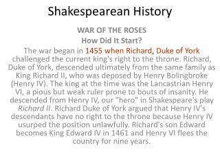 Shakespearean History