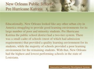 New Orleans Public Schools Pre Hurricane Katrina