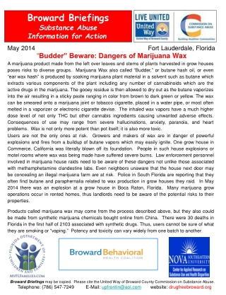 Broward Briefings Substance Abuse  Information  for Action