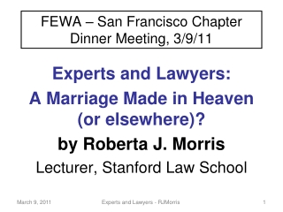 FEWA – San Francisco Chapter Dinner Meeting, 3/9/11