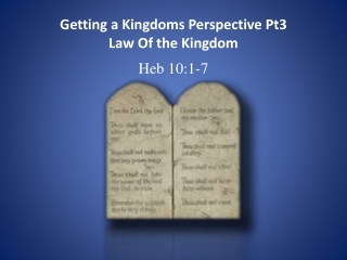 Getting a Kingdoms Perspective Pt3 Law Of the Kingdom