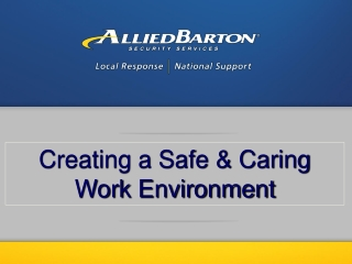 Creating a Safe & Caring Work Environment
