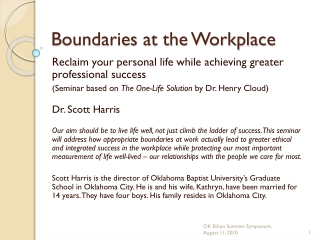 Boundaries at the Workplace