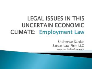 LEGAL ISSUES IN THIS UNCERTAIN ECONOMIC CLIMATE:   Employment Law