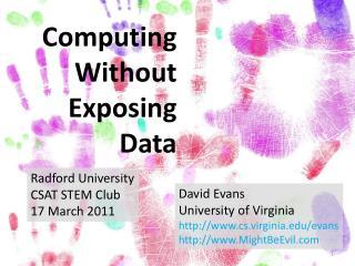 Computing Without Exposing Data