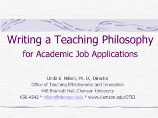 Writing a Teaching Philosophy for Academic Job Applications