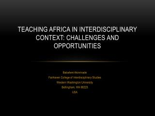 Teaching Africa in interdisciplinary context:  CHALLENGES AND OPPORTUNITIES