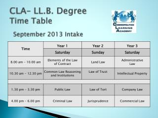 CLA– LL.B. Degree  Time Table September 2013 Intake
