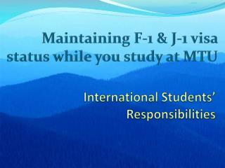 International Students'  Responsibilities