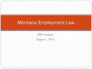 Montana Employment Law