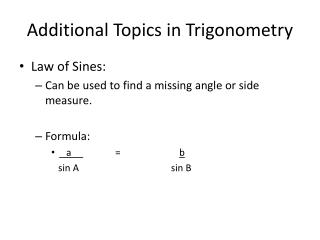 Additional Topics in Trigonometry