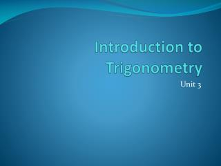 Introduction to Trigonometry