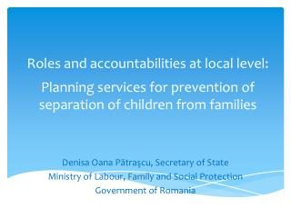 Roles and accountabilities at local level: Planning services for prevention of separation of children from families