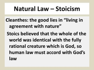 Natural Law – Stoicism