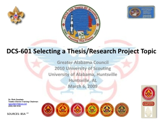 DCS-601 Selecting a Thesis/Research Project Topic