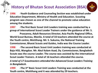 History  of Bhutan Scout Association (BSA)