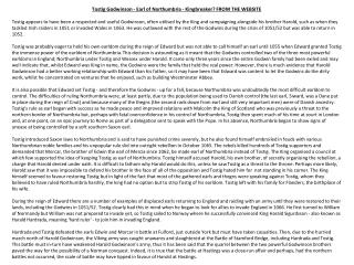 Tostig Godwinson  - Earl of Northumbria -  Kingbreaker ? FROM THE WEBSITE