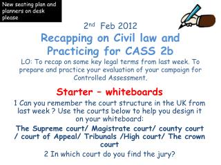 Starter – whiteboards 1 Can you remember the court structure in the UK from last week ?  U se the courts below to help