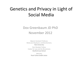 Genetics and Privacy in Light of Social Media