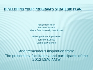 Developing Your Program's Strategic Plan