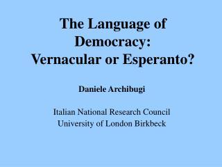 Daniele Archibugi - The Language of Democracy