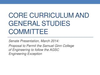 Core Curriculum and General Studies Committee