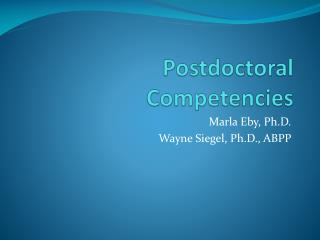 Postdoctoral Competencies