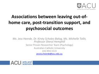 Associations between leaving out-of-home care, post-transition support, and psychosocial outcomes